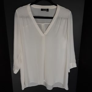NWT A.N.A sheer white flowy blouse.   Large